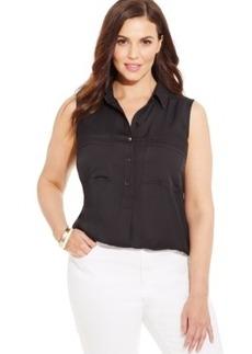 Jones New York Signature Plus Size Sleeveless Shirt