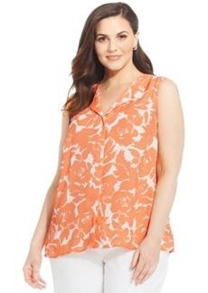 Jones New York Signature Plus Size Sleeveless Split-Neck Printed Blouse