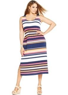 Jones New York Signature Plus Size Sleeveless Striped Dress