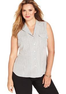 Jones New York Signature Plus Size Sleeveless Striped Shirt