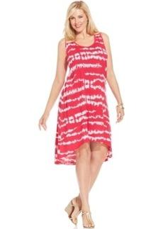 Jones New York Signature Plus Size Sleeveless Tie-Dyed High-Low Dress