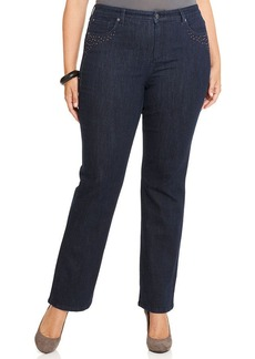 Jones New York Signature Plus Size Straight-Leg Jeans, Indigo Blue Wash