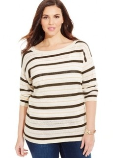 Jones New York Signature Plus Size Striped Boat-Neck Sweater