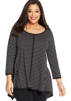 Jones New York Signature Plus Size Striped Handkerchief-Hem Top