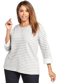 Jones New York Signature Plus Size Striped Sweatshirt
