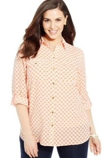 Jones New York Signature Plus Size Tab-Sleeve Printed Shirt