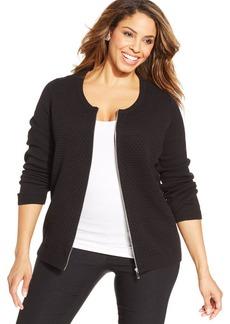 Jones New York Signature Plus Size Textured Zip-Front Cardigan