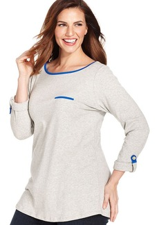 Jones New York Signature Plus Size Three-Quarter-Sleeve Colorblocked Tee