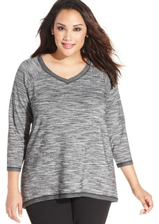 Jones New York Signature Plus Size Three-Quarter-Sleeve Space-Dyed Top