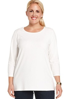 Jones New York Signature Plus Size Three-Quarter-Sleeve Tee