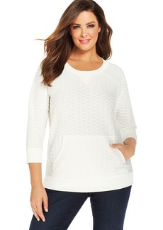 Jones New York Signature Plus Size Three-Quarter-Sleeve Textured Sweatshirt