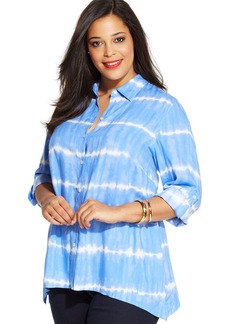 Jones New York Signature Plus Size Tie-Dye Handkerchief-Hem Shirt