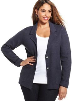 Jones New York Signature Plus Size Two-Button Knit Blazer