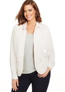 Jones New York Signature Plus Size Zip-Front Jacket