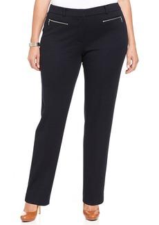 Jones New York Signature Plus Size Zip-Pocket Straight-Leg Pants