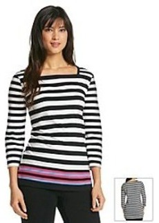 Jones New York Signature® Square Neck Stripe Knit Tunic