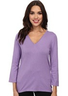 Jones New York Silk Blend 3/4 Sleeve V-Neck Pullover