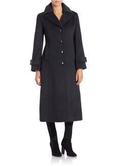 JONES NEW YORK Single-Breasted Wool-Blend Long Coat
