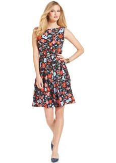 Jones New York Sleeveless Floral-Print Belted Fit & Flare Dress