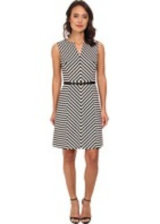 Jones New York Sleeveless Notch Neck A-Line Dress