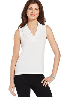 Jones New York Sleeveless Pleated V-Neck Top
