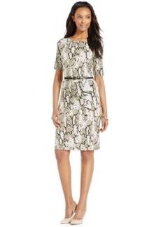 Jones New York Snakeskin-Print Belted Ruffle Dress