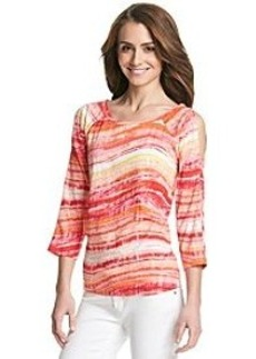 Jones New York Sport® Cold Shoulder Spacedye Stripe Top