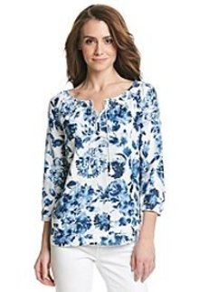 Jones New York Sport® Floral Linen Peasant Top
