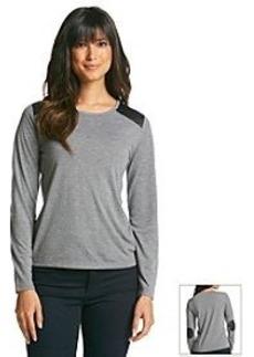 Jones New York Sport® Long Sleeve Quilted Elbow Top