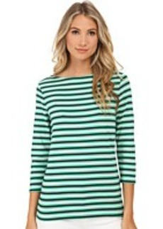 Jones New York Stripe 3/4 Sleeve Boat Neck