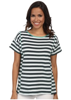Jones New York Stripe Short Sleeve Boxy Top