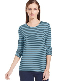 Jones New York Signature Petite Three-Quarter Sleeve Striped Boat-Neck Top