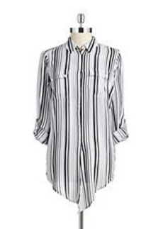 JONES NEW YORK Striped Tie Front Blouse