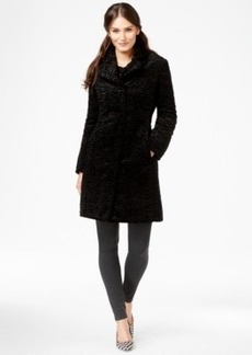 Jones New York Textured Faux-Fur Walker Coat
