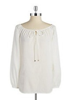 JONES NEW YORK Textured Peasant Blouse
