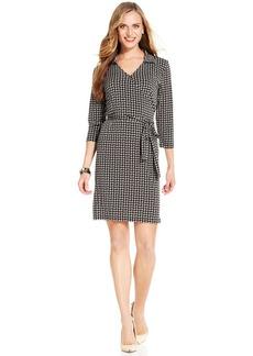 Jones New York Three-Quarter-Sleeve Printed Faux-Wrap Dress