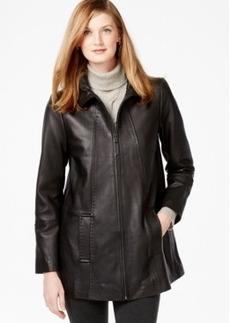 Jones New York Topstitched Leather Coat