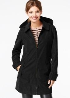 Jones New York Water-Resistant Hooded Microfiber Raincoat