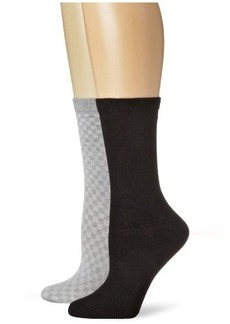 Jones New York Women's 2 Pack Basketweave Solid Crew Sock