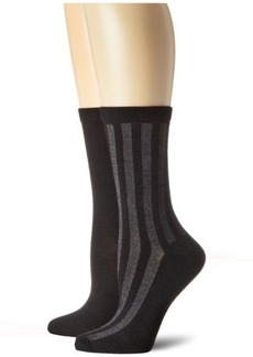 Jones New York Women's 2 Pack Vertical Mesh Stripes Solid Crew Sock
