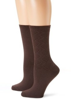 Jones New York Women's 2 Pair Pack Basketweave Crew Socks