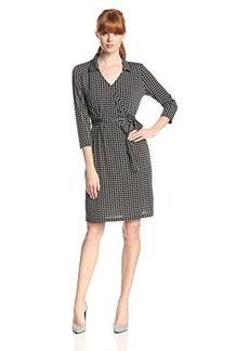 Jones New York Women's 3/4 Roll Up Sleeve Faux Wrap Dress