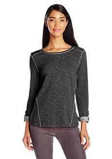 Jones New York Women's 3/4 Sleeve Angled Seam Pullover Black