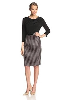 Jones New York Women's 3/4 Sleeve Combo Twofer Dress