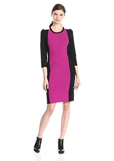 Jones New York Women's 3/4 Sleeve Crew Neck Dress