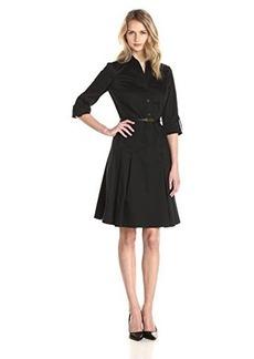 Jones New York Women's 3/4 Sleeve Fit and Flare Shirt Dress