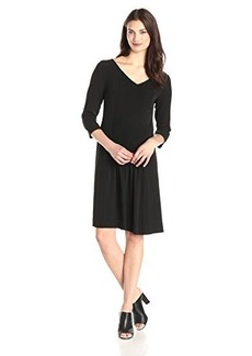 Jones New York Women's 3/4 Sleeve Pintuck Dress