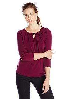 Jones New York Women's 3/4 Sleeve Pleat Neck Pullover