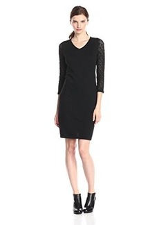Jones New York Women's 3/4 Sleeve V-Neck Dress
