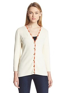 Jones New York Women's 3/4 Sleeve Woven Trimmed Cardigan